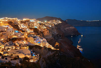 Photograph - Santorini Skyline Night by Songquan Deng