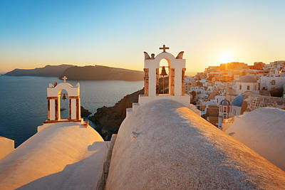 Photograph - Santorini Skyline Sunset Bell by Songquan Deng