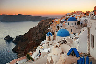 Photograph - Santorini Skyline Sunset Blue Dome by Songquan Deng
