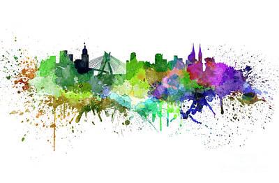 Sao Paulo Skyline In Watercolor Art Print by Pablo Romero