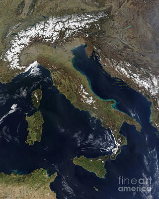 True Color Photograph - Satellite View Of Italy by Stocktrek Images
