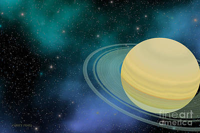 Planetary System Painting - Saturn by Corey Ford