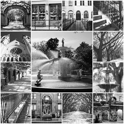 Photograph - Savannah Collage Black And White by Carol Groenen