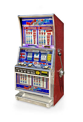 New Years - Square top slot machine knockout on white background by Gary Warnimont
