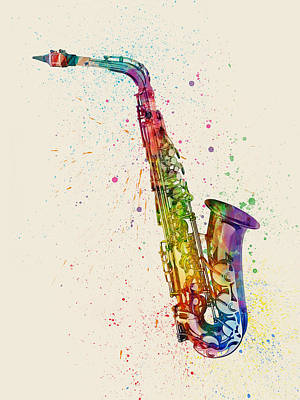 String Digital Art - Saxophone Abstract Watercolor by Michael Tompsett