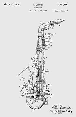 Sax Girl Photograph - Saxophone Patent Drawing From 1933 by Chris Smith