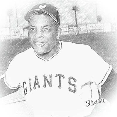 Drawing - Willie Mays by Stephen Mitchell