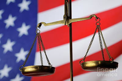 Scales Of Justice And American Flag Art Print by Sami Sarkis