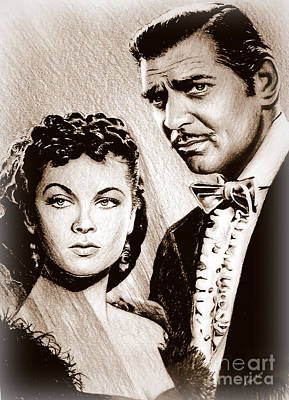 Blockbuster Drawing - Scarlett O Hara And Rhett Butler by Andrew Read