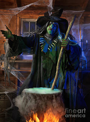 Casting Spells Photograph - Scary Old Witch With A Cauldron by Oleksiy Maksymenko
