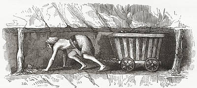 Small Basket Drawing - Scene Inside An English Coal Mine by Vintage Design Pics