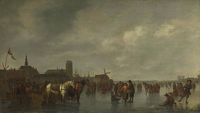 Photograph - Scene On The Ice Outside Dordrecht by Abraham van Calraet