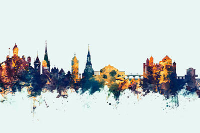 Switzerland Digital Art - Schaffhausen Switzerland Skyline by Michael Tompsett