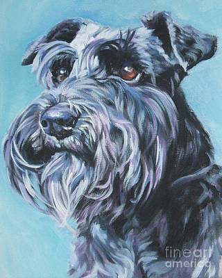Miniature Painting - Schnauzer by Lee Ann Shepard