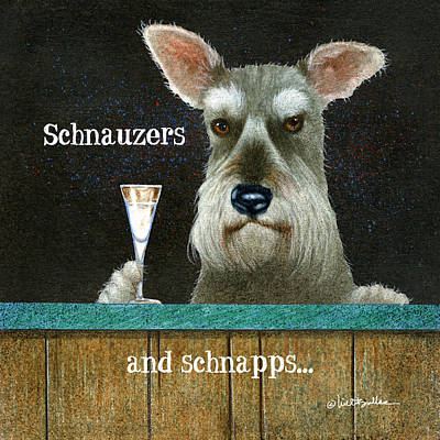 Painting - Schnauzers And Schnapps... by Will Bullas