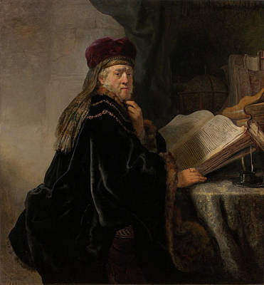 Aged Painting - Scholar At His Study by Rembrandt van Rijn