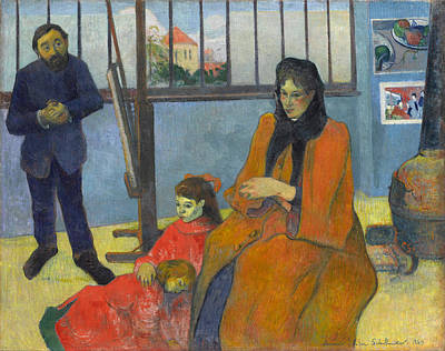 Child Painting - Schuffenecker's Studio by Paul Gauguin