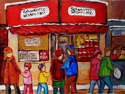 Jewish Montreal Painting - Schwartz's Hebrew Deli by Carole Spandau
