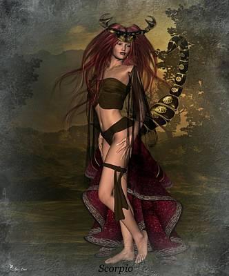 Digital Art - Zodiac Scorpio by Ali Oppy