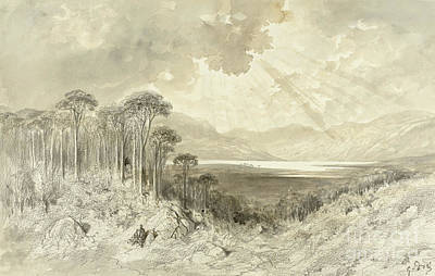 Mountain Drawing - Scottish Landscape by Gustave Dore