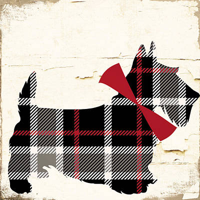 Scottish Dog Painting - Scottish Terrier Tartan Plaid by Mindy Sommers