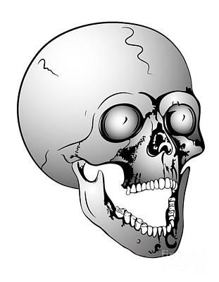 Sculling Digital Art - Screaming Skull by Michal Boubin