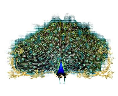 Royal Mixed Media - Scroll Swirl Art Deco Nouveau Peacock W Tail Feathers Spread by Audrey Jeanne Roberts