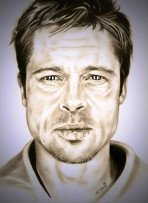 Troy Smith Drawing - Se7en Brad Pitt by Fred Larucci