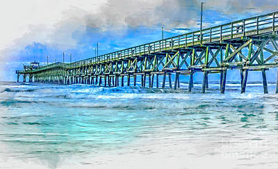 Digital Art - Sea Blue - Cherry Grove Pier by David Smith