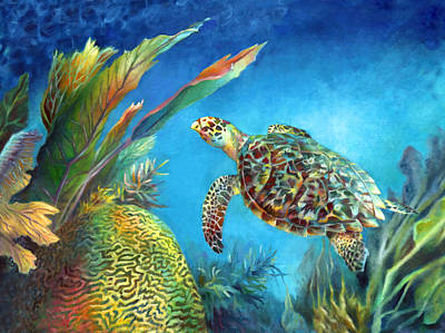 Brain Coral Painting - Sea Escape Iv - Hawksbill Turtle Flying Free by Nancy Tilles