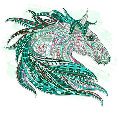 Painting - Sea Green Ethnic Horse by Aloke Creative Store