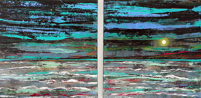 Painting - Sea Green Storms And Moonlight Solace Large Painting Large Work by Angie Wright