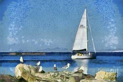Womens Empowerment - Sea gulls on rock by George Atsametakis