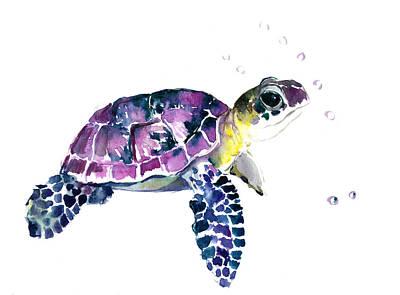 Painting - Sea Turtle, Underwater Scene by Suren Nersisyan