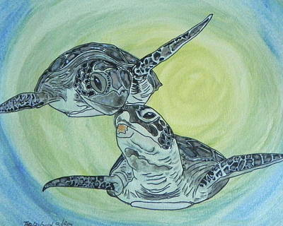 Green Sea Turtle Painting - Sea Turtles by W Gilroy