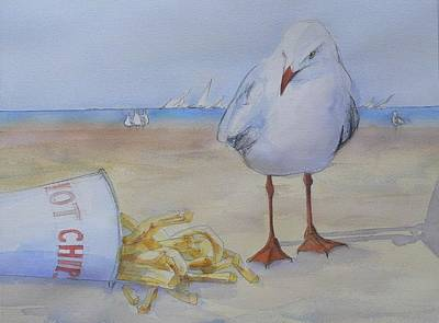 Seagull And Hot Chips Art Print by Tony Northover