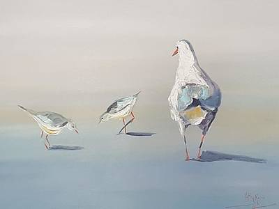 Painting - Seagulls by Kathy  Karas