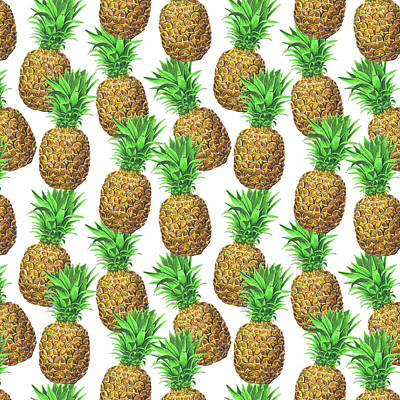 Pineapple Mixed Media - Seamless Pattern With Pineapples by Katerina Kirilova