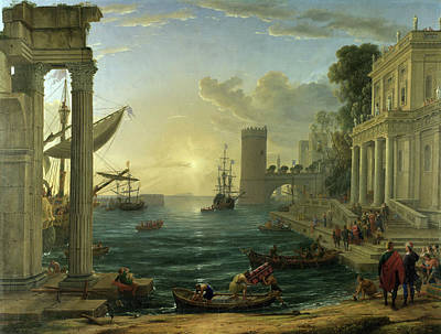 Sacred Painting - Seaport With The Embarkation Of The Queen Of Sheba by Claude Lorrain