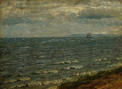 Painting - Seascape With Impending Rain. Lillebaelt by Dankvart Dreyer