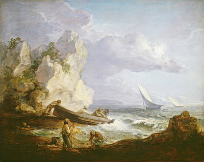 United Kingdom Painting - Seashore With Fishermen by Thomas Gainsborough