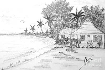 Beach Landscape Drawing - Seaside Cottage  by Collin A Clarke