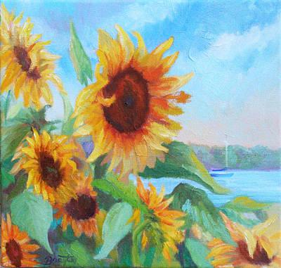 Painting - Seaside Sunflowers by Julie Brayton