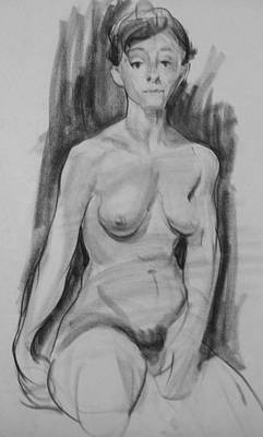 Drawing - Seated Female Nude, Distant Gaze by Robert Holden