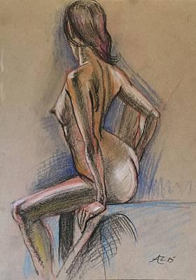 Seated Nude Art Print by Alejandro Lopez-Tasso