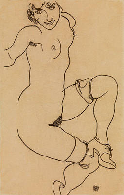 Plump Women Wall Art - Painting - Seated Nude In Shoes And Stockings by Egon Schiele