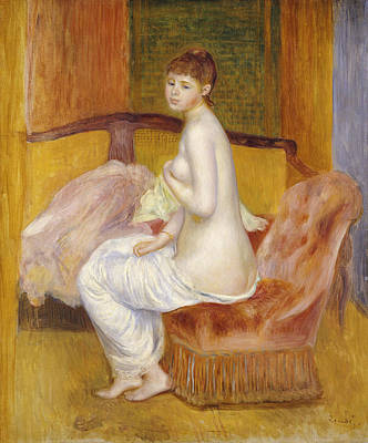 Brown Hair Painting - Seated Nude by Pierre Auguste Renoir