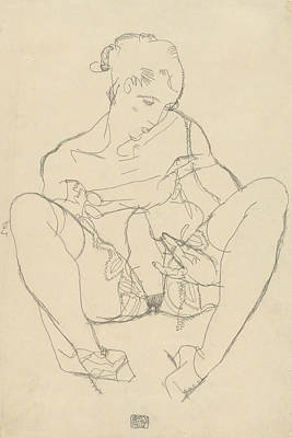 Drawing - Seated Woman In Chemise by Egon Schiele