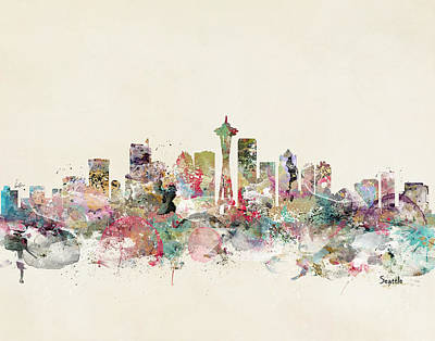 Colourfull Painting - Seattle City Skyline by Bleu Bri