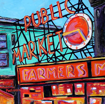 Painting - Seattle Public Market by Marti Green